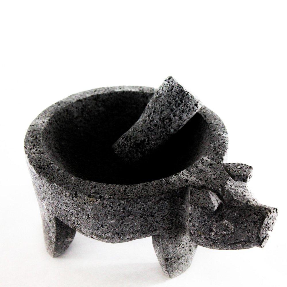 LaMex Molcajete Stone Mortar with Pig Head & Pestle La Mexicana