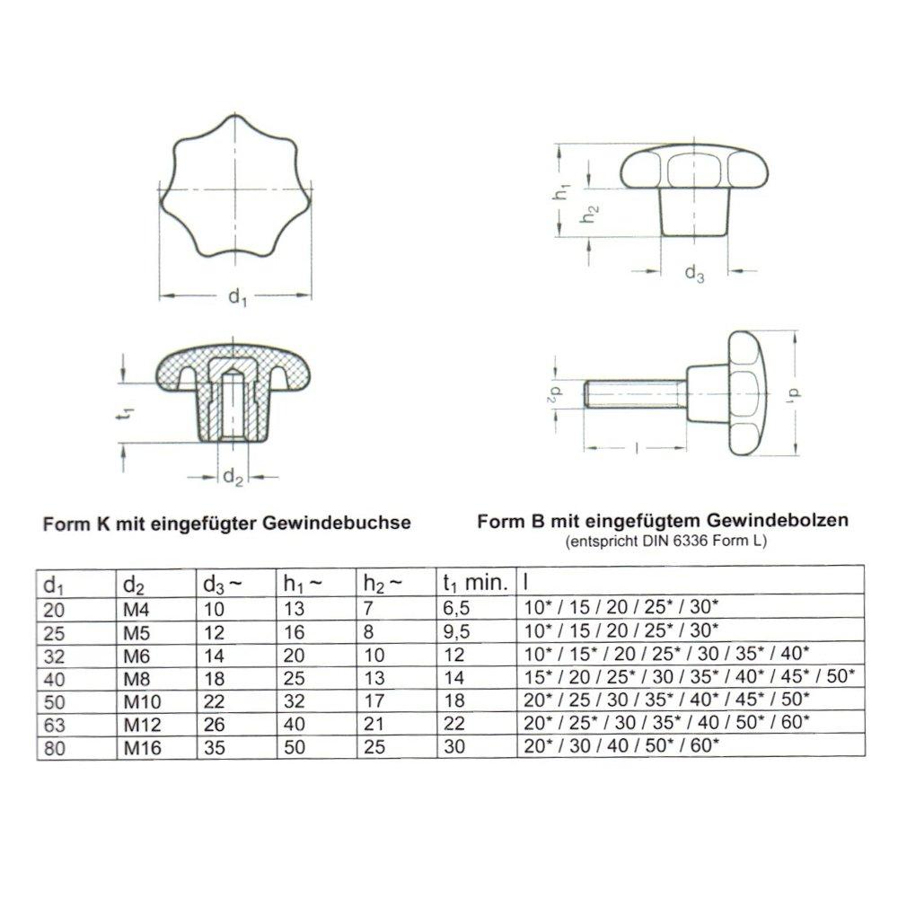 5 x M6 x 50 /Ø32mm WTB/® Sterngriffe Sterngriffschrauben DIN 6336 L
