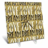 3dRose PS Inspiration - Gold Black White Love Dream Peace Shine - 6x6 Desk Clock (dc_280770_1)