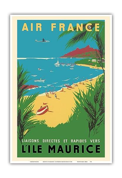 Affiche AIR FRANCE Renluc 1954 L'Île Maurice