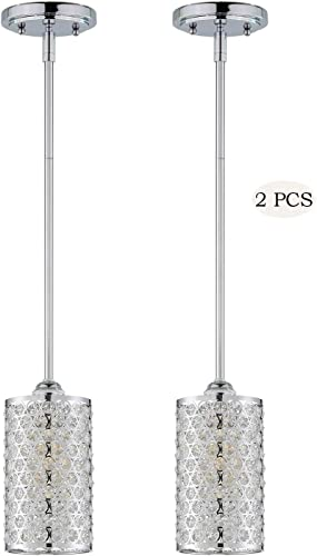 Doraimi 1 Light Crystal Pendant with Chrome Finish Set of 2 ,Modern and Concise Pendant with Crystal Plate Metal Shade for Bar, Dining Room, Corridor,Living Room. LED Bulb not Include