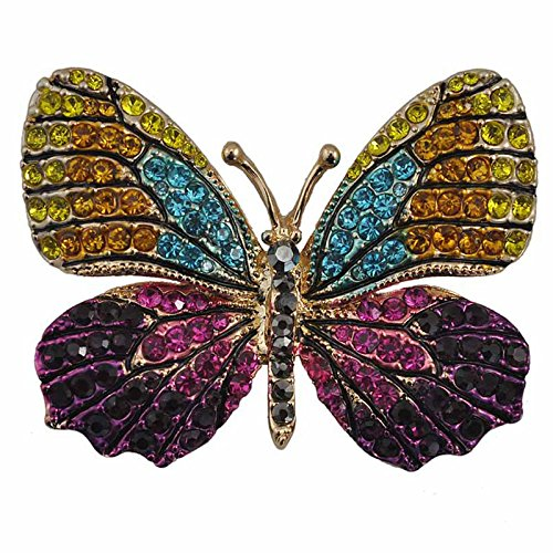 (Reizteko Winged Butterfly Crystal Rhinestones Brooch Pin (Yellow Blue)