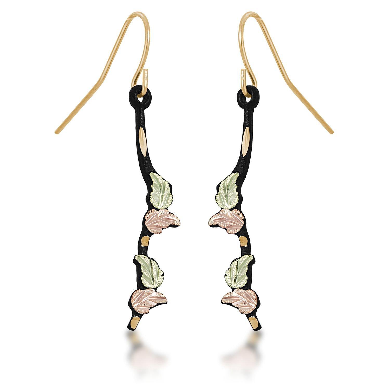 Landstroms Black Powder Coat Shepherd Hook Earrings with 10K Gold Trim