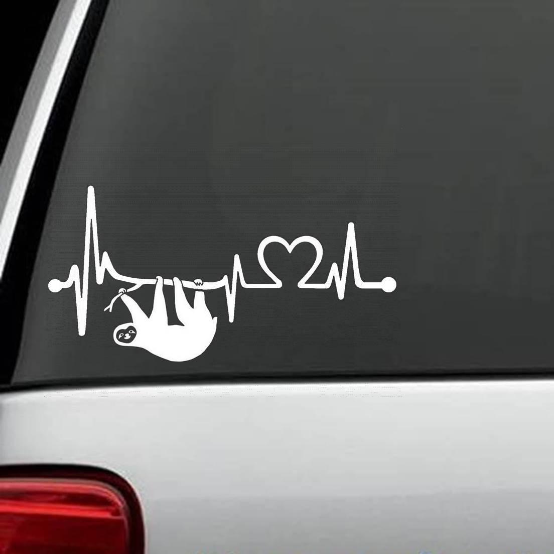 K1092 Sloth Heartbeat Lifeline Heart Love Decal Sticker Bluegrass Decals