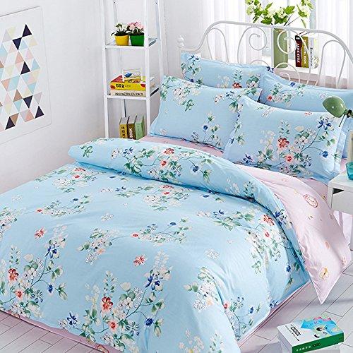 Print 4 Piece Cotton (100% Cotton Bedding Set 4 Pieces Romantic Pastoral Style Multi-Flowers Print Duvet Cover Set (Duvet Cover+Bed Sheet+Pillow Cases) Queen Pattern 4)