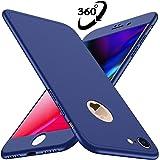 Losvick Custodia iPhone 8, con[Pellicola Protettiva Vetro Temperato] Ultra Sottile Matte 360 Gradi Cover 3 in 1 PC Antiurto Antiscivolo Protectiva Bumper per iPhone 8 4.7 Pollici - Blu