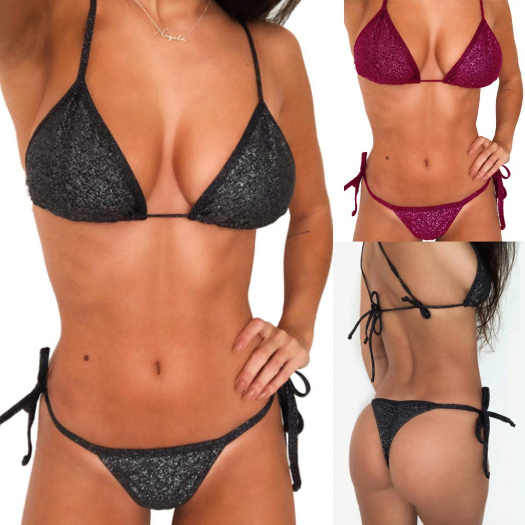 d8d4a21281a83 Amazon.com: Euone ❀ Swimwear, Women Plain Mircor Beachwear High Waist  Swimsuits Ladies Bandage Brazilian Bikini Sets Surfing Bathing Suit Two  Pieces: Toys ...