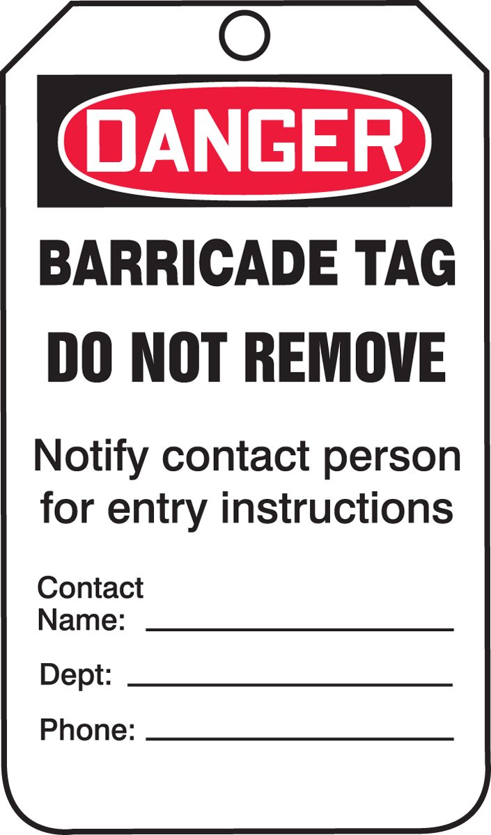 Accuform TAB104CTP Barricade Status Tag, Legend''DANGER BARRICADE TAG'', 5.75'' Length x 3.25'' Width x 0.010'' Thickness, PF-Cardstock, Red/Black on White (Pack of 25) by Accuform (Image #2)
