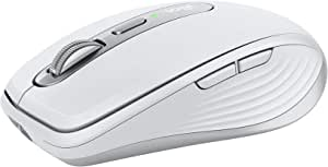 Logitech MX Anywhere 3 Compact Performance Mouse, Wireless, Comfort, Fast Scrolling, Any Surface, Portable, 4000DPI, Customizable Buttons, USB-C, Bluetooth - Pale Grey