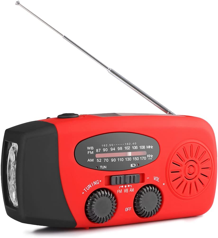 Taschenlampe Und Telefonladeger/ät Und 1000mAh Eingebaute Batterie Power Bank Notfall SOS Alarm Rot SUNJULY Radio Kurbelradio F/ür Notf/älle Tragbares Mit AM//FM Wetter Radio Outdoor Solar Radio