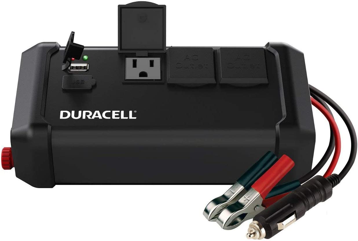 Duracell DRINV400 High Power Tailgate Inverter 400 Watt Peak 320W Continuous, 12v DC Input Includes 2 AC Outlets 115V Plus 2.4 Amp USB 5V Renewed