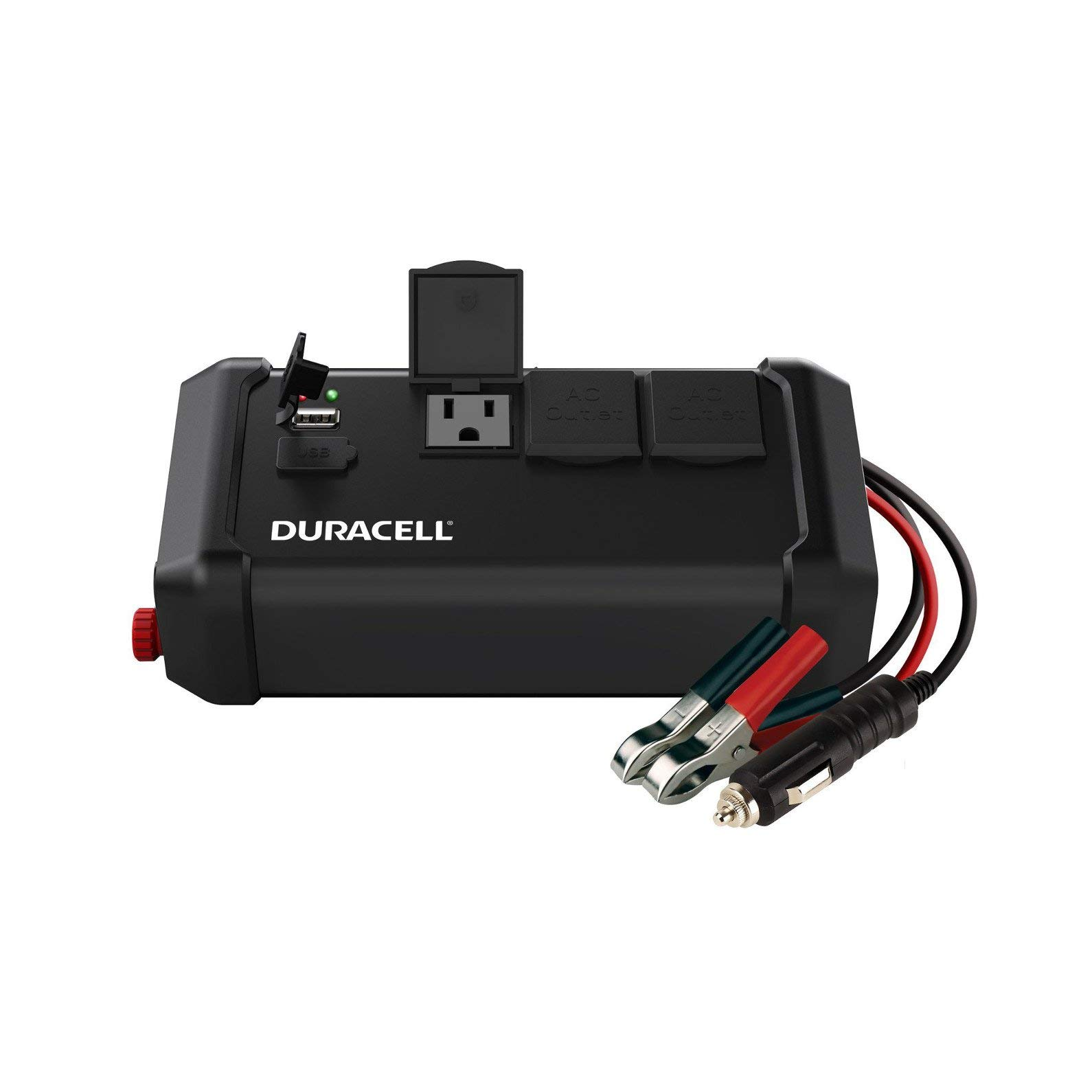 Duracell DRINV400 High Power Tailgate Inverter 400 Watt Peak 320W Continuous, 12v DC Input Includes 2 AC Outlets (115V) Plus 2.4 Amp USB (5V) (Renewed)