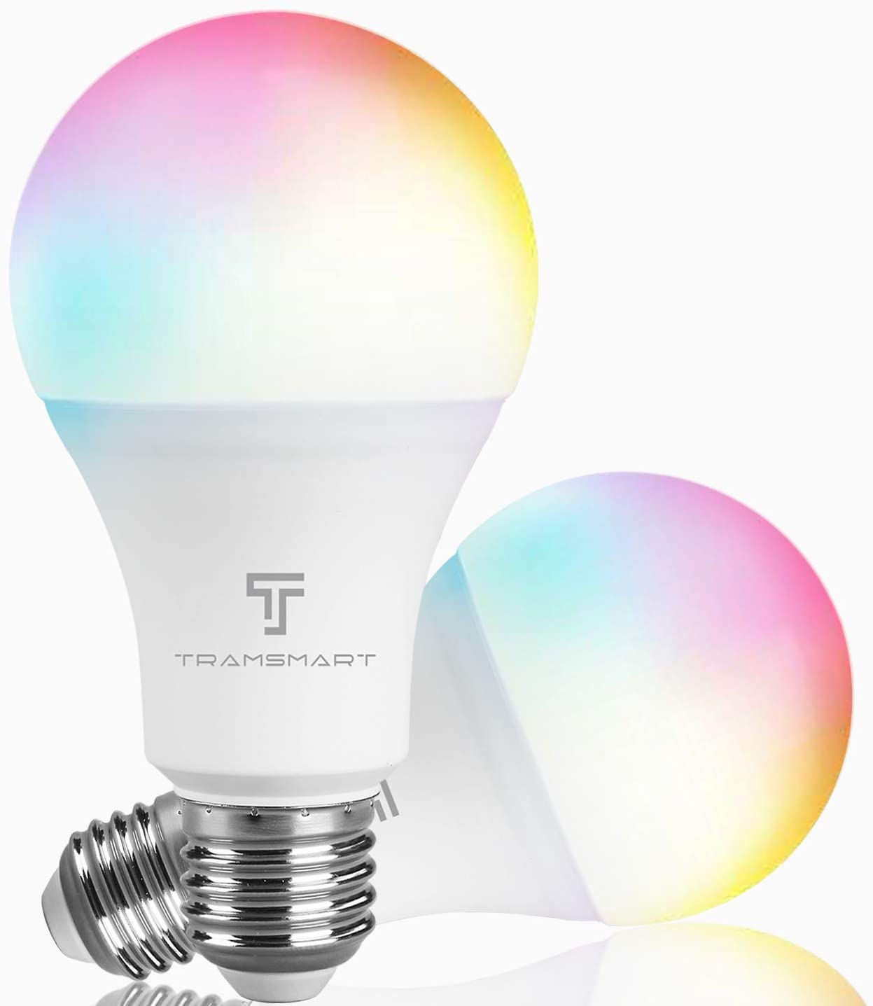 WiFi Smart Light Bulbs Compatible with Alexa and Google, RGB & CCT 2700-6500K Color Changing, Tramsmart E26 A19 LED Smart Light Bulb No Hub Required, 9W(60w Equivalent) 800 Lumens, 2 Pack