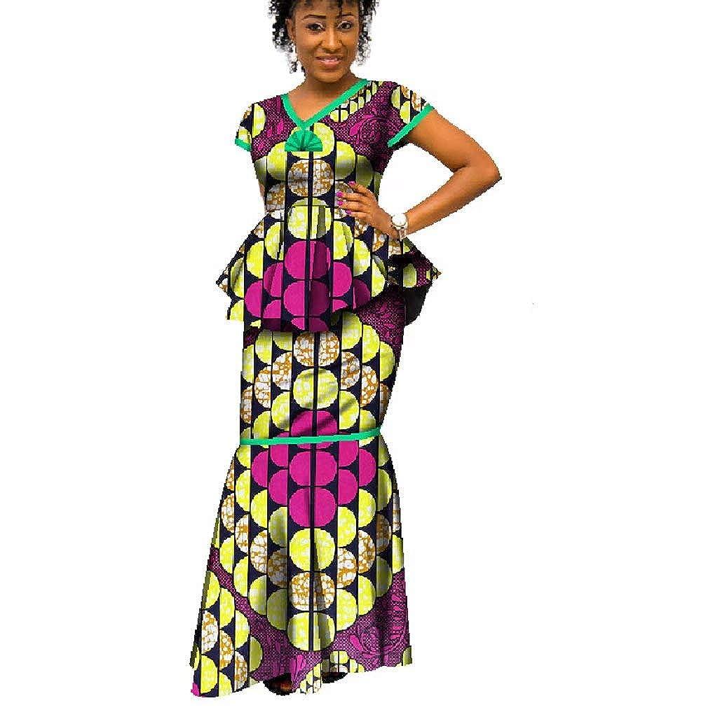 236 BintaRealWax Womens African Print 2 Piece Skirt Set Ankara Mermaid Maxi Skirt and Peplum Tops