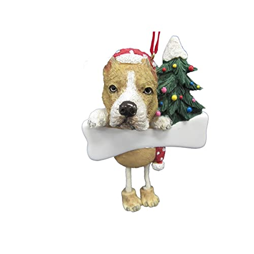 Pit Bull Ornament Tan and White with Unique