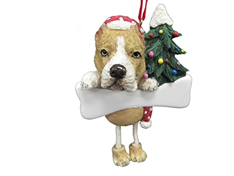 Pitbull Christmas Ornament.Pit Bull Ornament Tan And White With Unique Dangling Legs Hand Painted And Easily Personalized Christmas Ornament