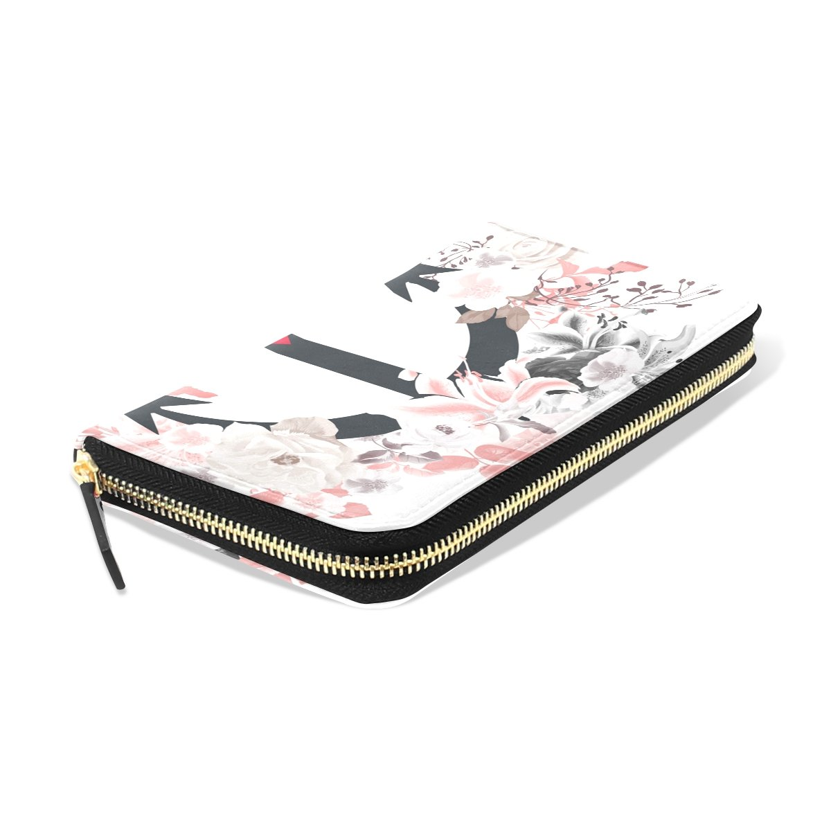 Watercolor Roses Anchor Long Leather Wallet Card Holder Zipper Purse Clutch Bag for Women