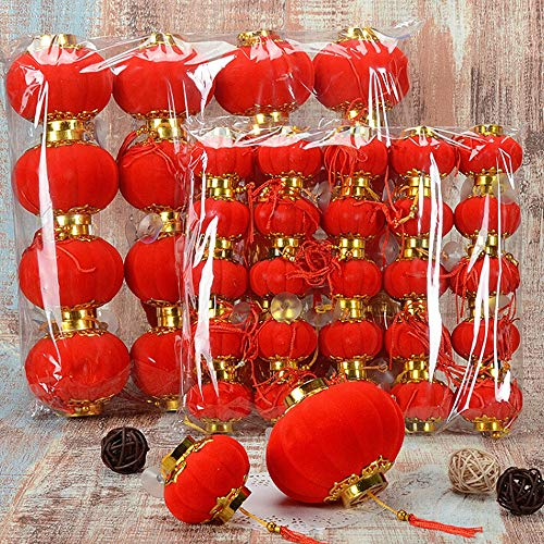 Lanterns - 20pcs Flocking Small Lantern Chinese Year Spring Festive Ornament Party El Home Decoration Xmas - Energizer Empty Use Outdoors Nativity Vol Vintage Ceiling Wall Set