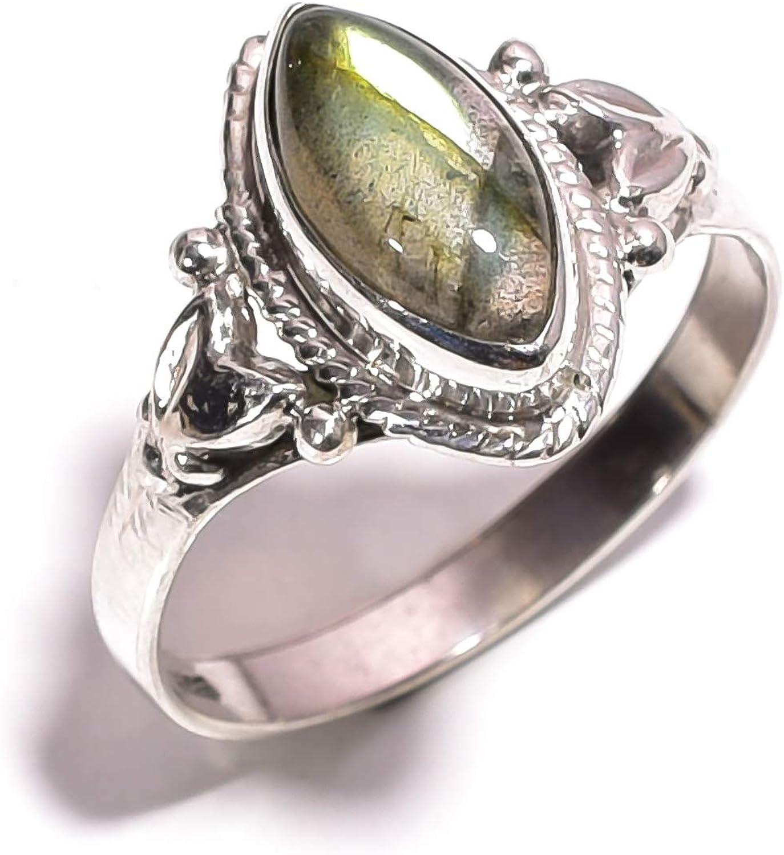 mughal gems & jewellery Anillo de Plata esterlina 925 Anillo de joyería Fina con Piedras Preciosas de labradorita Natural (tamaño 8.5 U.S)