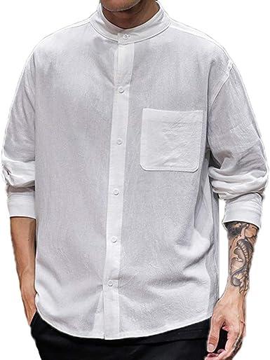 Camisas de Cuello Alto de Lino para Hombres Camisas Retro de Manga Larga Sueltas: Amazon.es: Ropa y accesorios