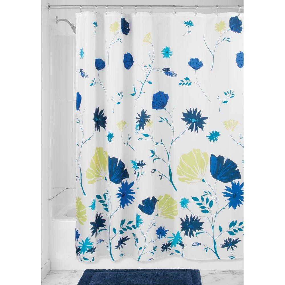 InterDesign Aster Floral Fabric Shower Curtain-72-Inchx72-Inch, Blue/Light Lime Inc. 63320