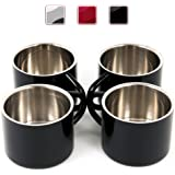 Stainless Steel Double Wall Espresso Cups, 2-Ounce, Set of 4 (Black)