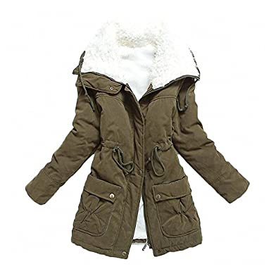 266649c9764 mewow Women's Winter Mid Length Thick Warm Faux Lamb Wool Lined Jacket Coat  (XS,