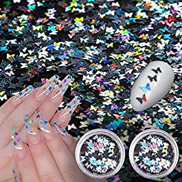 20g Holographic Nail Sequins Butterfly,3D Laser Nail Art Flakes,Ultra Thin Iridescent Nail Glitter Paillette,Nail Art Glitter Decoration Face Body Eyes Makeup,2pcs