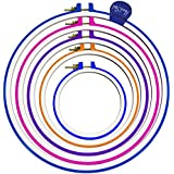 """Handi-stitch 5 Piece Hand Embroidery, Quilting and Cross Stitch Hoop Set - 5 Inch to 11 Inches (Sizes 11.2"""", 9.4"""", 8"""", 6.5"""" & 5"""")or 12.7-28.5cm - Various Colors and Size for all needlecraft needs!!!"""