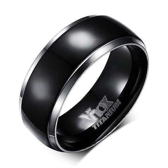 2 opinioni per Vnox Anello da uomo in puro titanio, 8mm, con incisione, fascia nera con