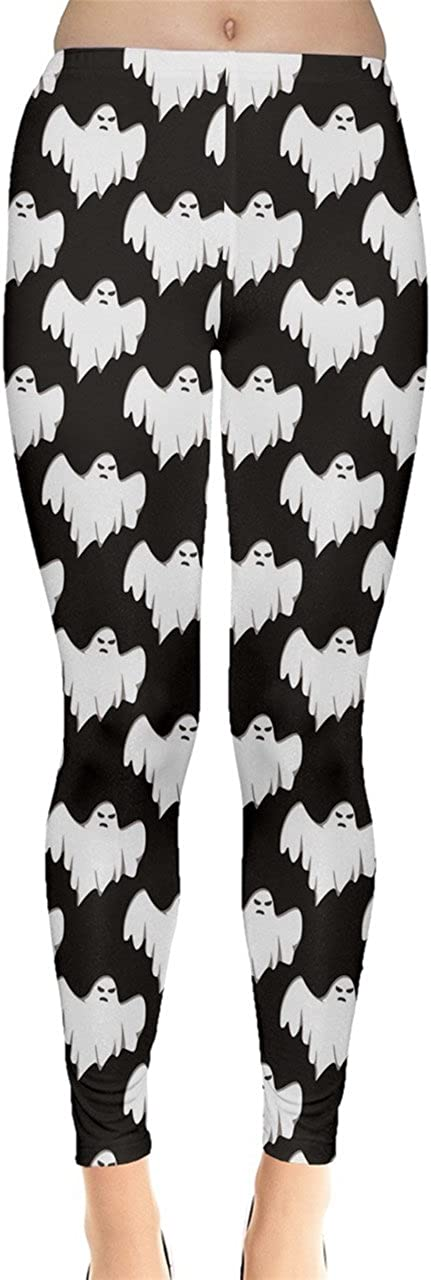 XS-5XL CowCow Womens Stretchy Tights Halloween Spider Web Pattern Fashion Leggings