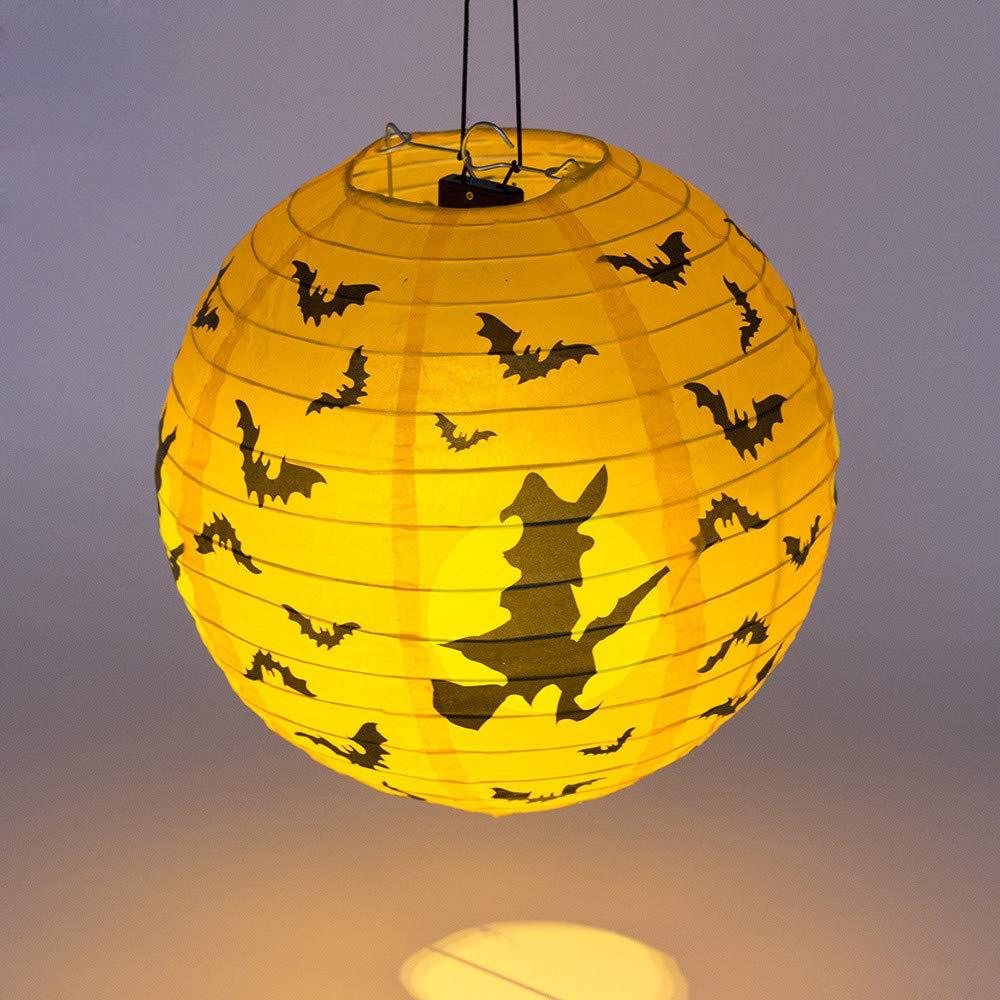 Hanging Pumpkin Light Home Decor, Elevin(TM) New Halloween Paper Pumpkin Hanging Lantern DIY Holiday Party Decor Scary (F)