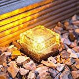 GESIMEI Frostfire Solar Powered Ice Cube Rock Glass Brick Lighting Outdoor Waterproof LED Buried Lights Decorative Nightlight for Square Yard Driveway Garden Path Road (Warm White)