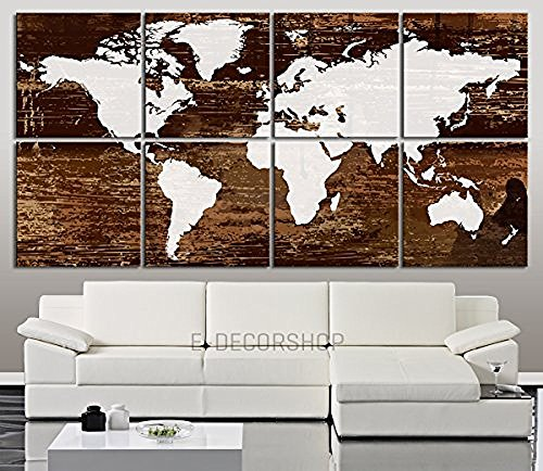 TANDA Large Canvas White World Map on Dark Brown Wooden Background 8 Panel Large Wall Art 16 Inch Each Panel 64 Inch Total by Tanda