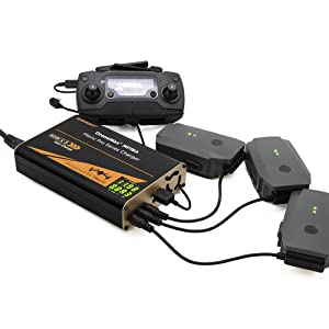 Energen DroneMax MP18A Drone Battery Charger, DJI Mavic Pro Accessories, Intelligent Fast Multi Battery Charging Hub Station (Charge 3 Batteries & 2 USB Ports Simultaneously)