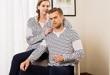 MYM Pijamas de algod¨®n nuevo par bajar juegos de ropa de rayas de
