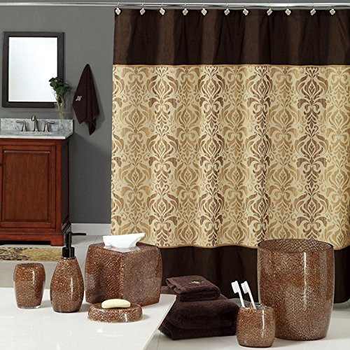 Uphome luxury brown gold shiny damask bathroom shower for Brown and gold bathroom sets