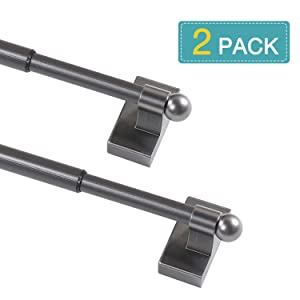 Multi-Use Versatile Adjustable Magnetic Cafe Curtain Rod, Door Curtain Rod, Wash Room Towel Bars, Easy Installation Rods, 2 Pack/Pewter/9 Inches to 16 Inches