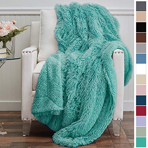 The Connecticut Home Company Shag with Sherpa Reversible Kids Throw Blanket, Super Soft, Large Wrinkle Resistant Blankets, Warm and Hypoallergenic Washable Couch or Bed Throws, 65x50, Turquoise