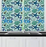 Curtains with Fish on Them Ambesonne Starfish Decor Kitchen Curtains, Aquarium Inspired Composition Tropical Seashells Scallops Cockles Clams, Window Drapes 2 Panel Set for Kitchen Cafe, 55 W X 39 L Inches, Multicolor