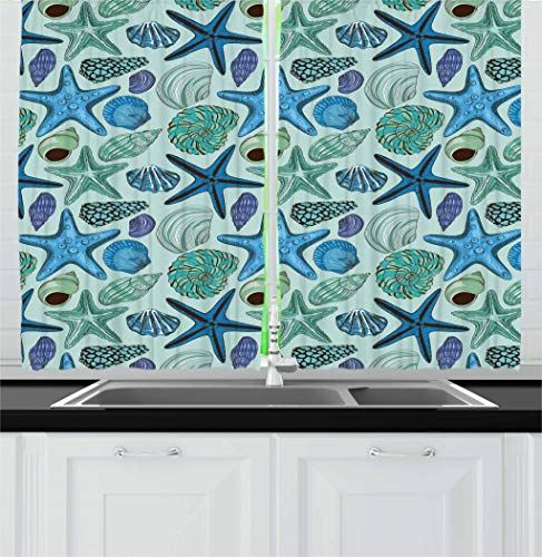 Ambesonne Starfish Decor Kitchen Curtains, Aquarium Inspired Composition Tropical Seashells Scallops Cockles Clams, Window Drapes 2 Panel Set for Kitchen Cafe, 55 W X 39 L Inches, Multicolor