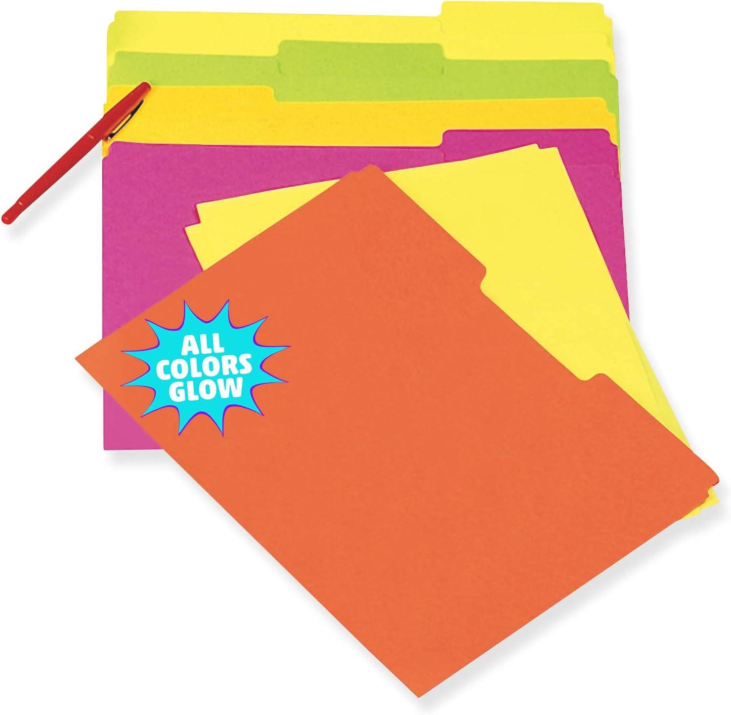 Pacon Fluorescent File Folders, 5 Assorted Colors, Letter Size, 10 Folders