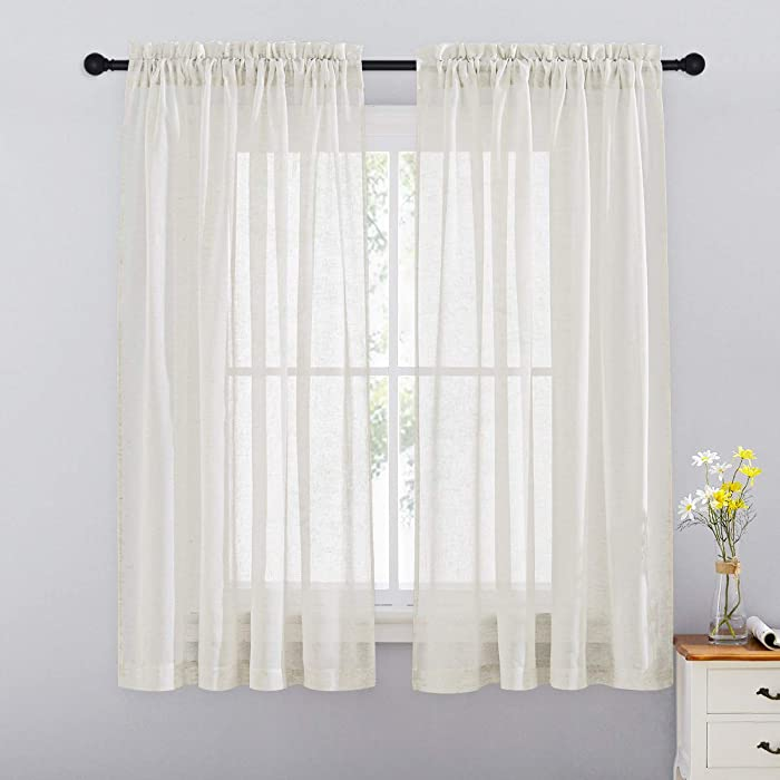 RYB HOME Linen Curtains Burlap Textured Semi Sheer Curtains Light & Airy Privacy Solid Curtains for Kitchen Bedroom Living Room, Ivory, Wide 52 x Long 63 inch, Set of 2