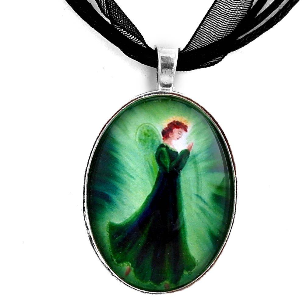 Laura Milnor Iverson Irish Christmas Angel Handmade Jewelry Art Pendant