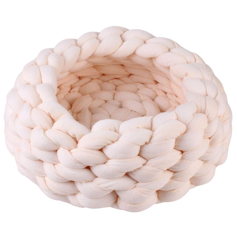 C Meng Pet Hand-Woven Pet Cave Bed Woven Pet Nest Warm Two-in-one Foldable Cave Shape Pet Cat Bed Dog Bed (White ) (Size   C)