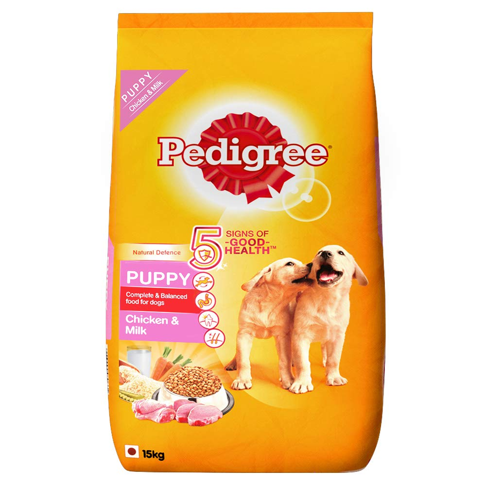 Pedigree Puppy Dry Dog Food, Chicken & Milk, 15kg Pack