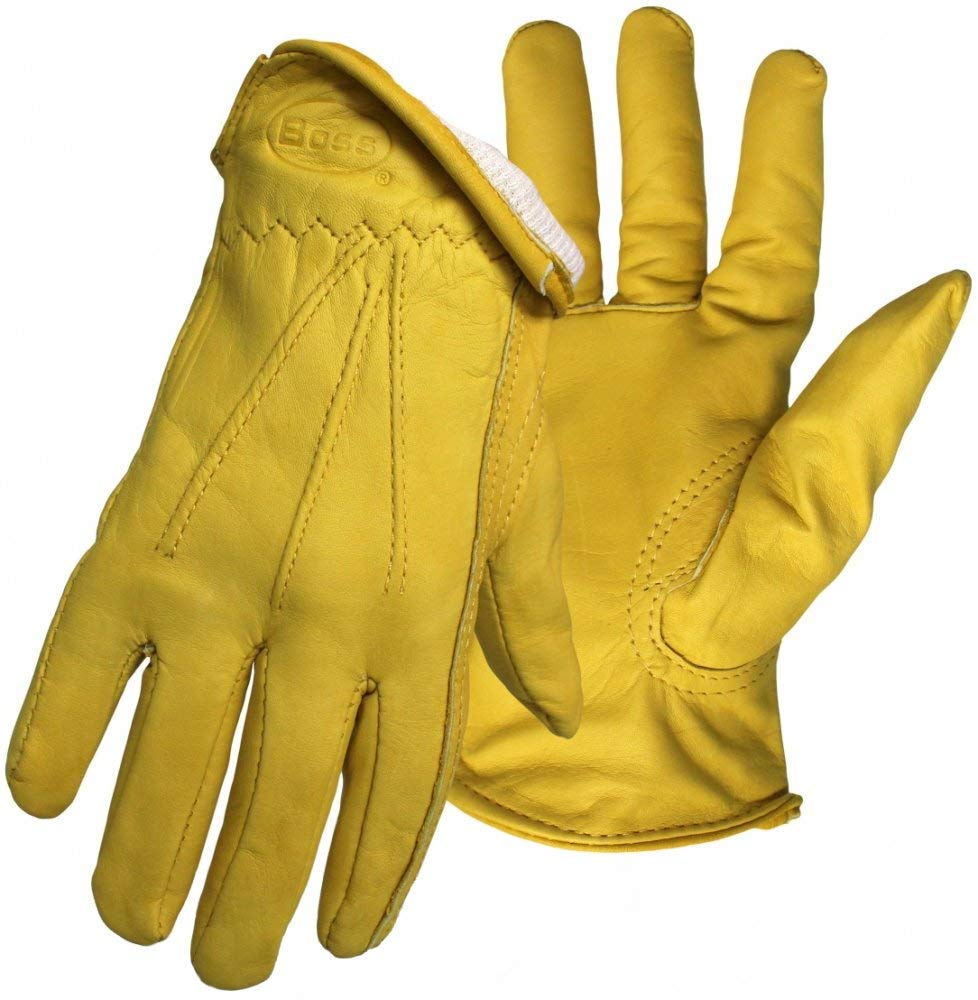 Boss Gloves 6133L Cotton Thermal Grain Cowhide Leather Driver, Large