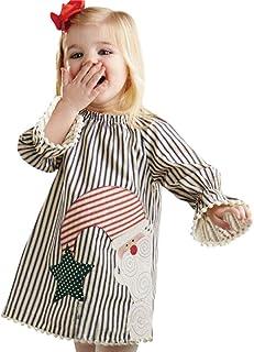 Elecenty Neonate per bambini Vestiti da Babbo Natale con abiti da principessa a righe 1~5 anni