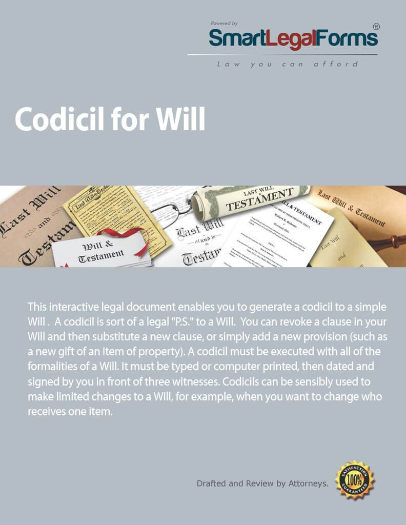 Codicil for Will [Instant Access] by SmartLegalForms, Inc.