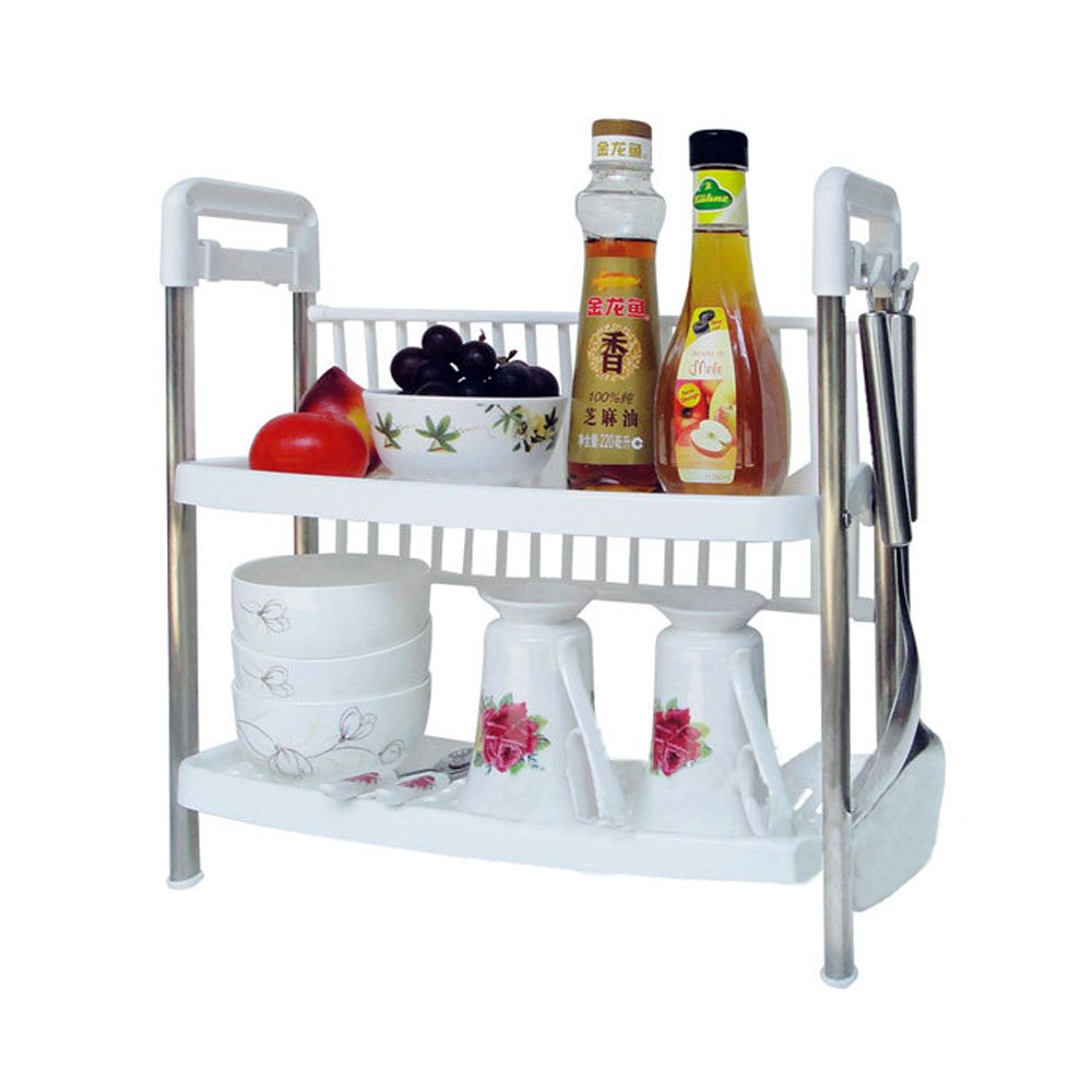 Buy Kawachi Multifunctional Two Layers Kitchen Storage Rack Shelf Of  Plastic And Stainless Steel Online At Low Prices In India   Amazon.in